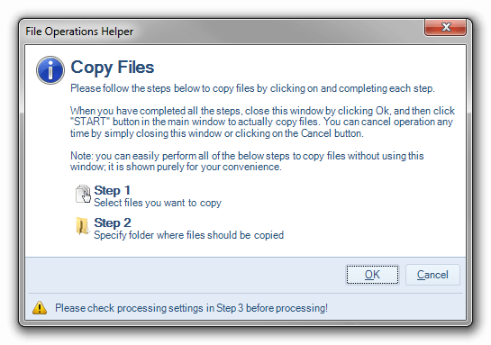 File operation helper for copying files