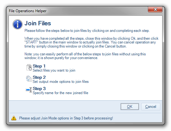 File operation helper for merging files