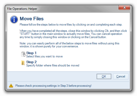 File operation helper for moving files