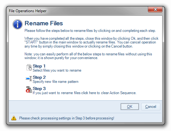 File operation helper for renaming multiple files