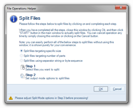 File operation helper for splitting files