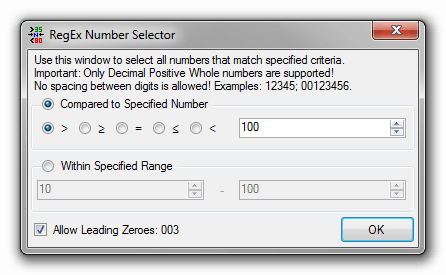 RegEx Number Selector Tool
