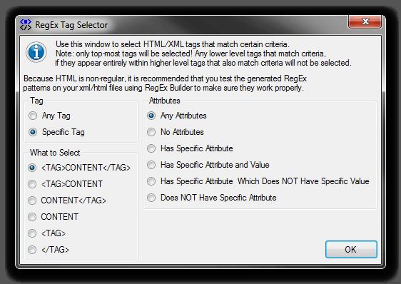 RegEx XML/HTML Tag Selector Tool