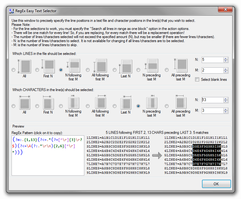 RegEx Text Selector Tool