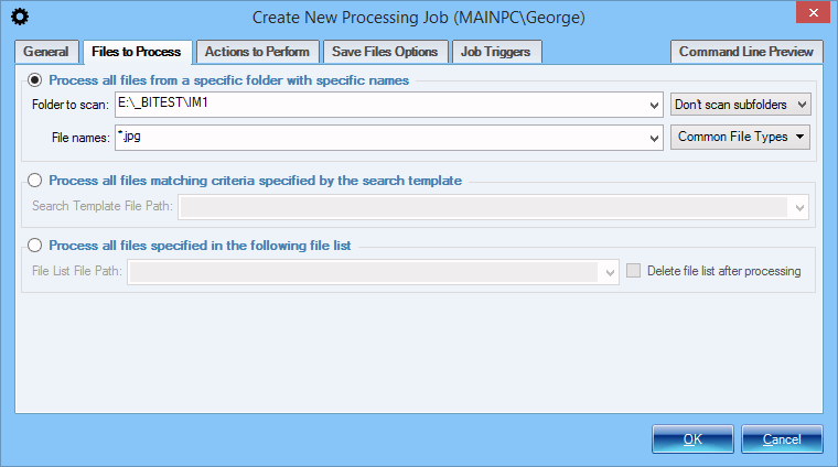 Setup a Processing Job - Select @(Model.FILEC)s