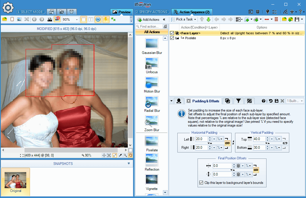 Create bitmap layers from detected faces in images