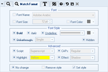 Select Text to Change Formatting for by Specifying Pattern and Existing Formatting