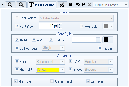 Specify New Font Style and Text Formatting Options