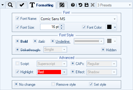 Search and Replace Text Formatting Options
