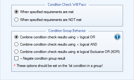 Condition Behavior Settings