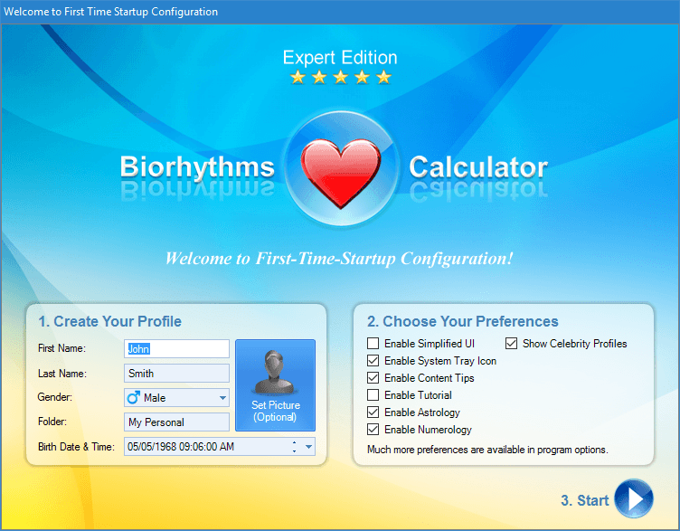 Biorhythms Calculator Getting Started Dialog