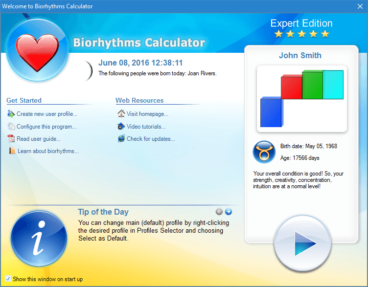 Biorhythms Calculator Welcome Screen