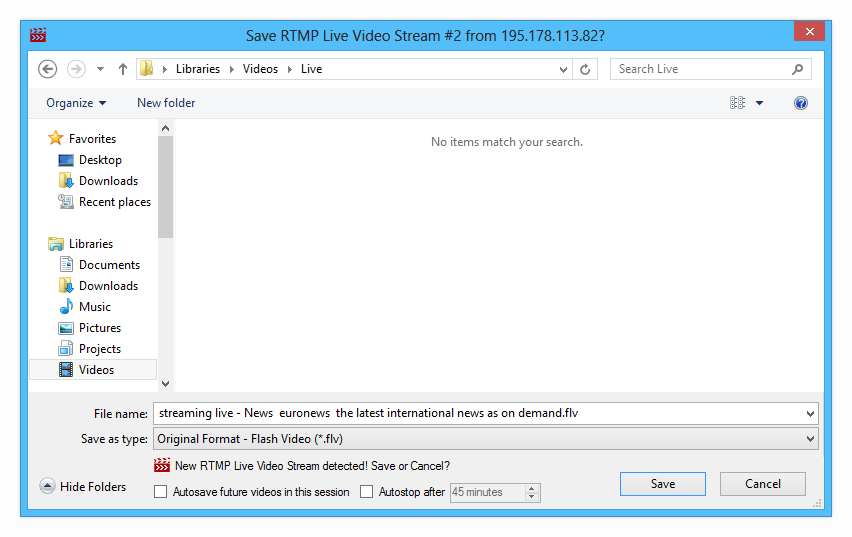 Streaming Internet Video Downloader - Save Video Dialog
