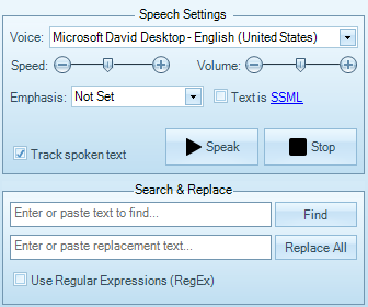 Step 2 - Choose Speaker's Voice and Configure Speech Settings.