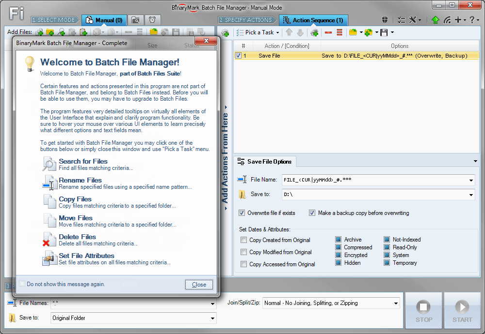 Batch File Manager software screenshot