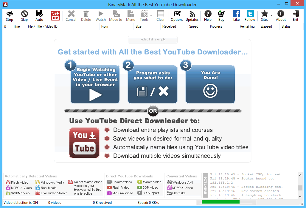 All the Best YouTube Downloader Main Window